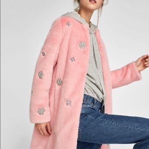 Zara Woman faux crystal pink fur coat sz N NWT